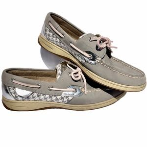 SPERRY Grey/Silver Houndstooth Topsider SZ-10M
